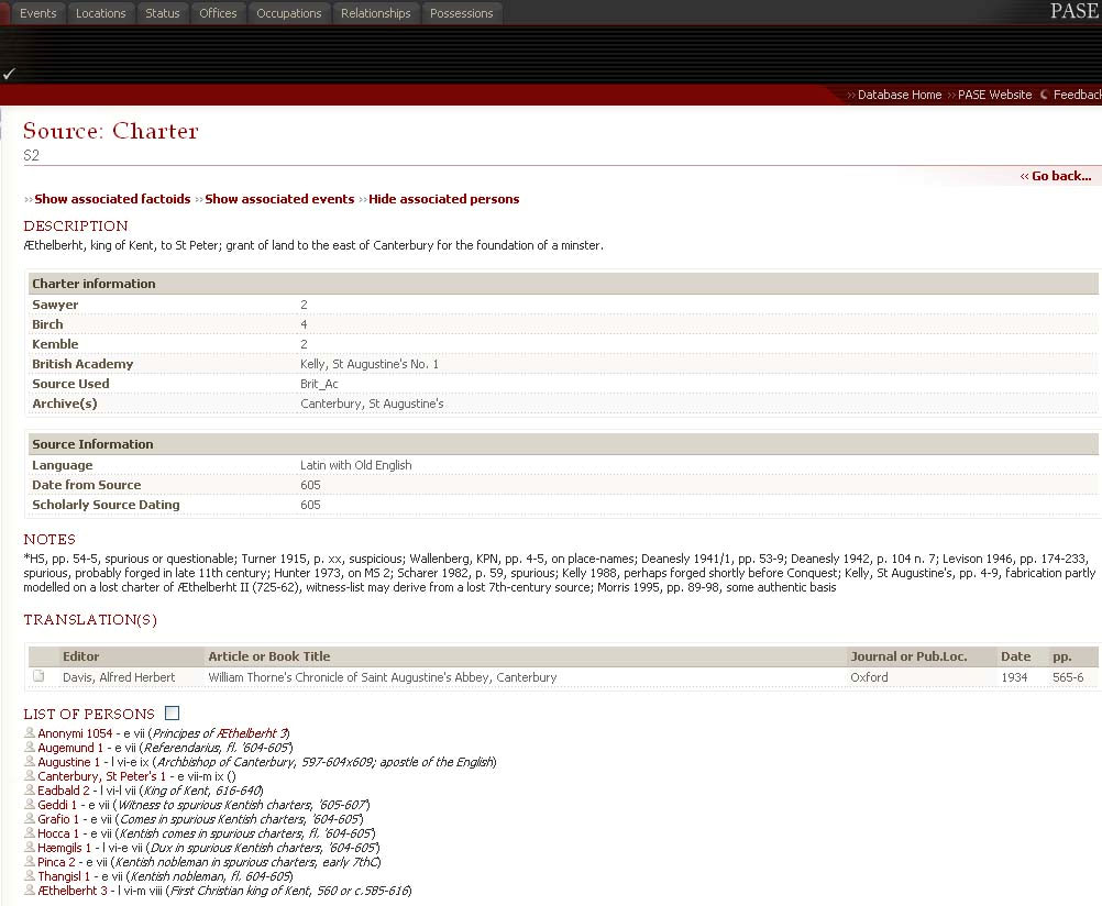 Example of a charter page in PASE.